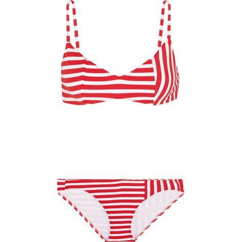 e9cabd5f6d374 Araks Elsa striped triangle bikini ($120) ❤ liked on Polyvore featuring  swimwear, bikinis