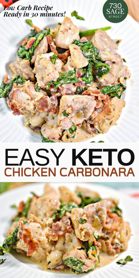 Keto Chicken Carbonara recipe is a household favorite. This recipe is #quick, easy, and a versatile dish that can feed your family, perfect for date night with your significant other, or for a group of friends. #easyrecipe #keto #recipes #lowcarb #dinner #valentinesrecipe #chickenrecipes #30minutesmeal #onthetable #realfood #dinnermeal #carbonara