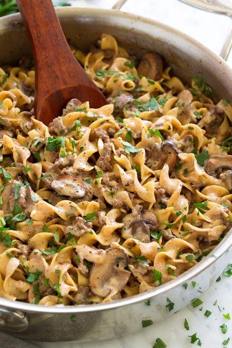 Beef Stroganoff Easy One Pot Recipe Recipe Yummly Recipe Beef Stroganoff Easy Slow Cooker Beef Stroganoff Ground Beef Stroganoff
