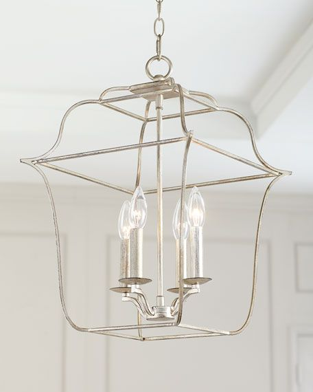 4 Light Cage Chandelier Cage Chandelier Silver Light Fixture