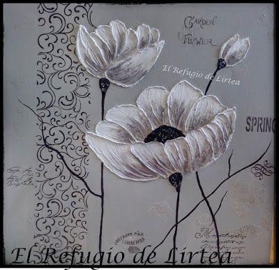 Cuadro Con Flores En Relieve Flores Pintadas Cuadro De Flores Pinturas Abstractas