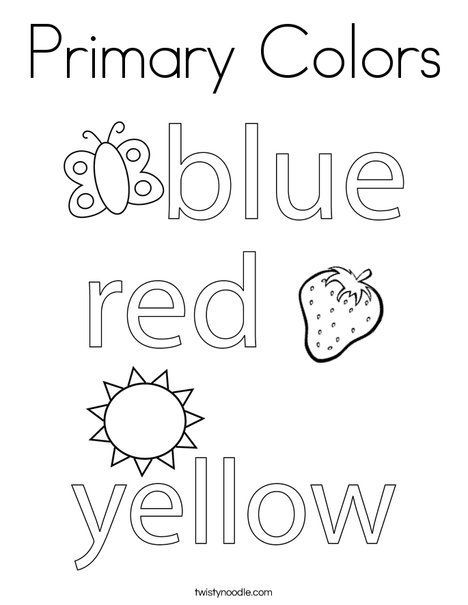 Primary Colors Coloring Page Twisty Noodle Primary Colors Color Worksheets For Preschool Color Lessons Coloring activity for preschoolers