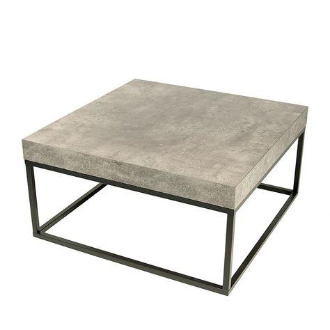 Table Basse Petra Gris Beton Noir Mat Table Basse Table D Appoint Et Table Basse Carree