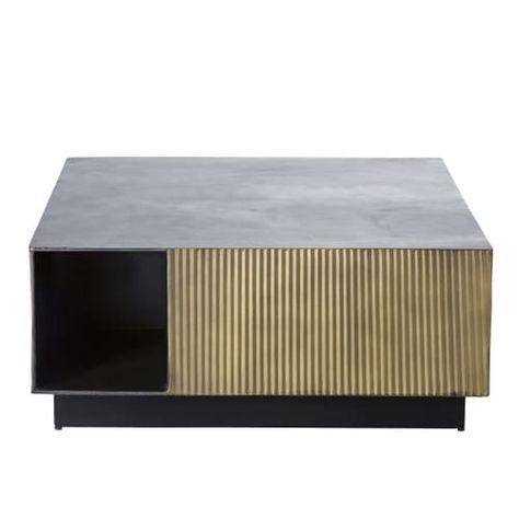 Table Basse En Metal Ondule Coloris Laiton Et Noir Maisons Du Monde In 2020 Couchtisch Metall Messingfarben Wohnzimmertische
