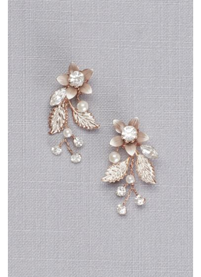 cd67606b25b51 Jeweled Brushed Metal Flower Earrings Style 8148E, Rose Gold in 2019 ...