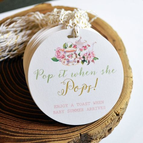 This listing is for personalized Tea Party Baby Shower Tags. Please click MORE for complete listing details. Tied around mini bottles of champagne or gourmet popcorn, these are the hottest favor around! ▶︎ ORDERING PROCESS: **Please provide the following information in the Notes to Seller during
