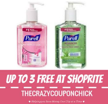 Print Now 3 Free Purell Hand Sanitizers At Shoprite Thru 8 12