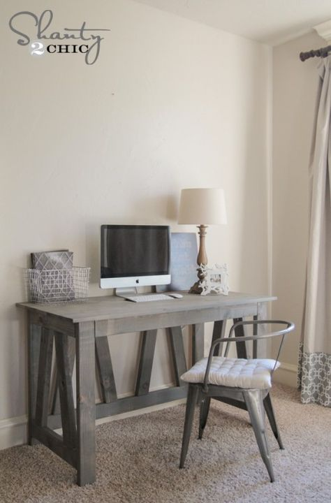 Free Woodworking plans and tutorial - DIY Truss Desk by www.shanty-2-chic.com