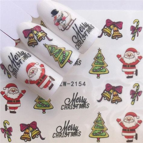 Water Transfer Sticker |Christmas party nail designs |water decals,nail stickers,Nail art, Catton nail art | Nail tattoo | decorations by Comebackshop on Etsy