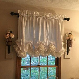 Double Ruffled Tea Dyed Muslin Balloon Curtain Valance Etsy In 2020 Balloon Curtains Balloon Valance Swag Curtains For Kitchen