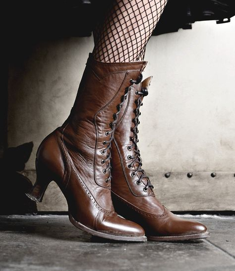 310194ad496 Retro Boots, Granny Boots, 70s Boots Modern Victorian Lace Up Leather Boots  in Cognac $255.00 AT vintagedancer.com