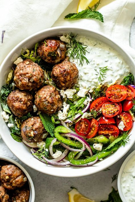 Greek Meatballs with Tzatziki Sauce - All the Healthy Things