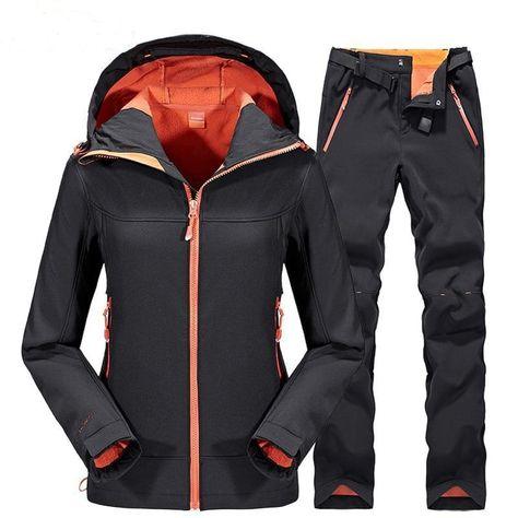 Camping Hiking Pants Men Women Outdoor Sport Fleece Trousers Trekking Ski  Jacket Pants Set