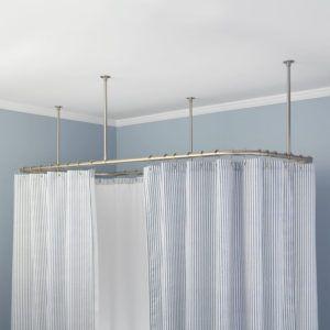 Ceiling Mounted Straight Shower Curtain Rail Clawfoot Tub Shower