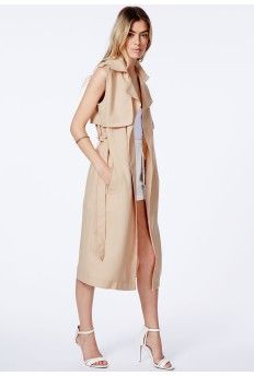 Missguided Arabela Camel Sleeveless Lightweight Trench Coat - off, found on sale for