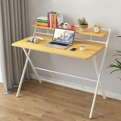 Details About Folding Study Desk With Storage Shelves Computer Desk Laptop Desktop Table New Desks For Small Spaces Computer Desk With Shelves Simple Computer Desk