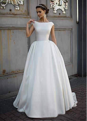 Marvelous Satin Bateau Neckline Ball Gown Wedding Dress Plain Wedding Dress Modest Wedding Dresses Boat Neck Wedding Dress