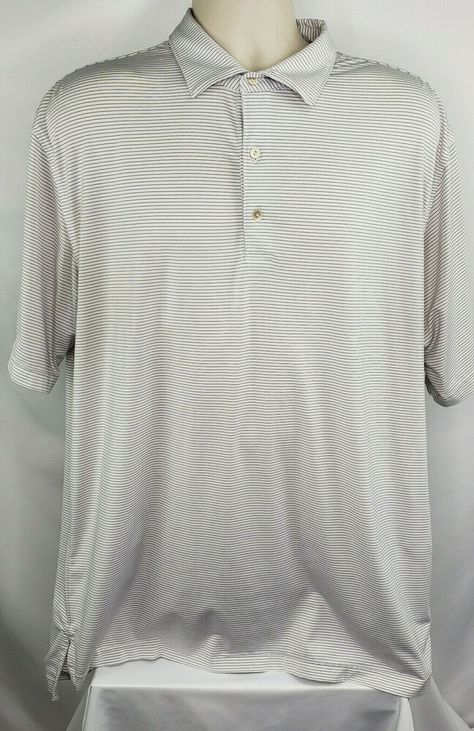 Peter Millar Mens L Short Sleeve Golf Shirt White W Indigo Stripes Euc Ebay Mens Golf Outfit Golf Shirts Mens Outfits