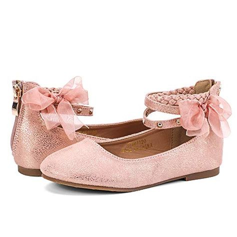 nerteo Girls Princess Dress Shoes Ankle Strap Glitter Ballet Flats Little//Big Kid