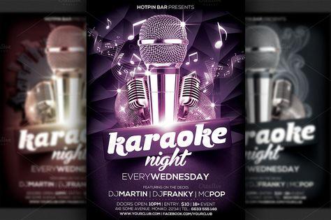 Karaoke Night Flyer Template by Ciusan on Creative Market - karaoke night flyer template