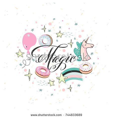 Magic lettering circle template with unicorn, air balloon, stars - circle template