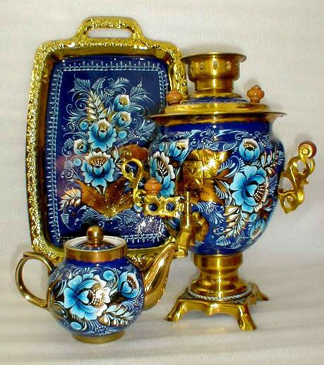 Russian tea set Draden got Shylah that she had once seen. It was blue with gold trim and handles, Blue peonies designed on it. The only thing missing is the drinking glasses