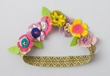 This pretty and sweet adornment adds a midsummer night's feel to any season. Working with felt in bright color combinations creates a wearable bouquet of plush happiness – but you can equally create a bracelet, garlands, or decorate the edge of a lampshade. Beads add texture to the bohemian feel of this project.