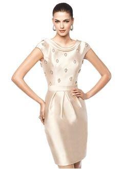 Sheath/Column Scoop Neck Knee-Length Satin Evening Dress With Beading
