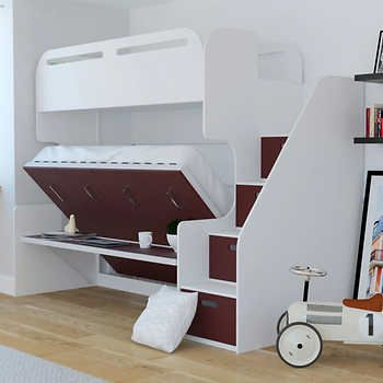 Jessie Twin Over Full Landscape Bunk Bed W Stair Storage Desk Red At Costco Cool Bunk Beds Kids Bunk Beds Bunk Bed With Trundle