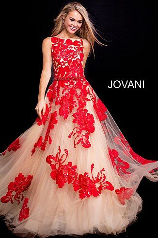 e792ed8a1e Nude Red Embellished Boat Neckline Backless Jovani Gown 48320 in ...