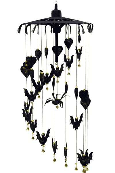 Skeleton Leaf - Gothic Mobiles  Each mobile comprises a black mulberry paper parasol from which hang different combinations of mulberry paper bats, witches, hearts and stars. Suspended from the centre is an eye-catching feature such as Dracula in his coffin or a black widow spider. Size: parasol 10 inches across, overall drop about 24 inches.  The mobiles are beautifully decorated with balls, bells, sequins and glitter in silver or gold.  £14.95 each