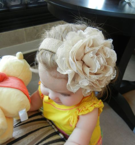 Shabby Chic Fabric Flower Burlap Headband