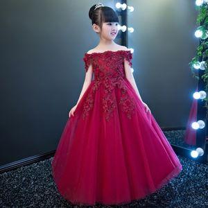 Western Style Flower Girl Dresses Off Shoulder Pink Wedding Gown