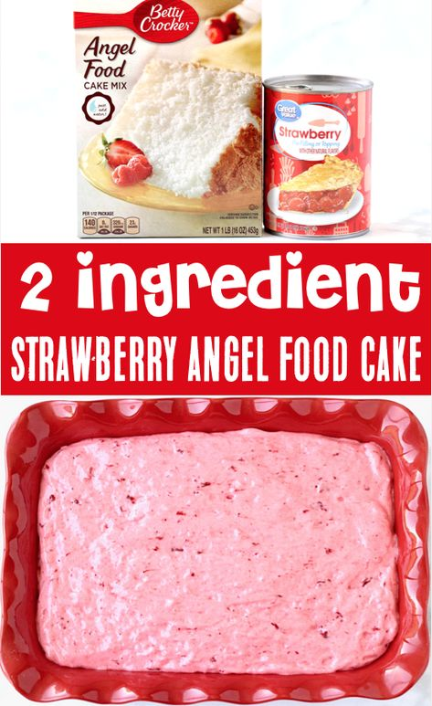 {Just 2 Ingredients} - Strawberry Desserts – Easy Angel Food Cake Mix Recipe… just 2 ingredients and you& done! Strawberry Angel Food Cake, Angel Food Cake Desserts, Easy Strawberry Desserts, Angle Food Cake Recipes, Pineapple Angel Food, Dump Cake Recipes, Dessert Cake Recipes, Köstliche Desserts, Delicious Desserts