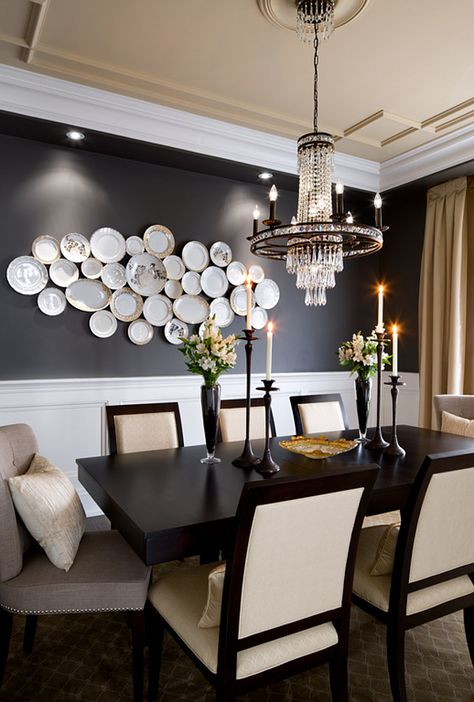 Dining Room Furniture and Lighting Ideas. Tailored Dining Room with beautiful chandelier and tailored furniture and decor. #DiningRoom #Furniture #Lighting Designed by Jane Lockhart.