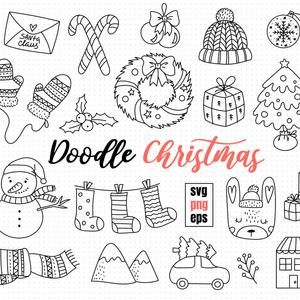 Cod610 Christmas Clipart Set Christmas Doodle Clipart Christmas Printable Wreath Holly Presents Christmas Commercial Use Instant Download Christmas Doodles Christmas Graphics Christmas Clipart