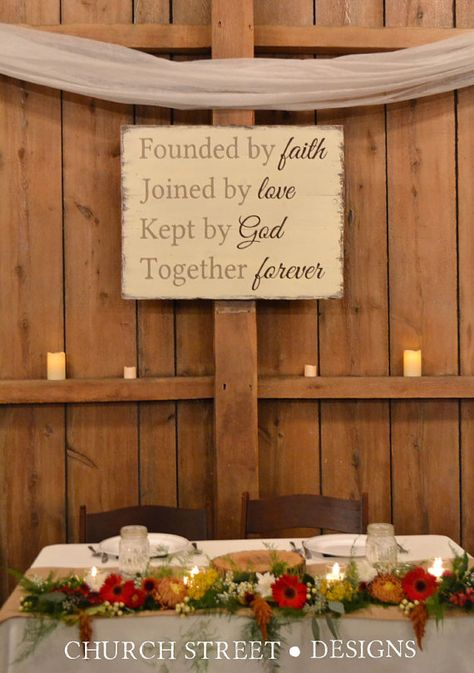 Wedding Sign - Founded by Faith Joined by Love Kept by God Together Forever - Head Table Sign - Reception Sign - Hand Painted Sign By ChurchStDesigns