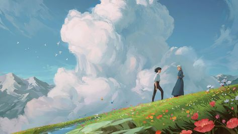 2560x1440px | free download | HD wallpaper: Howl's Moving Castle, Studio Ghibli, fantasy art, clouds, daylight