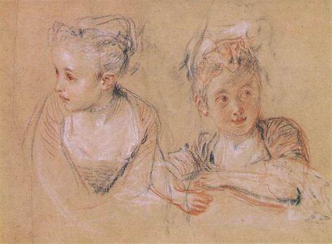 Jean-Antoine Watteau, Deux études, 1684-1721, peintre français rococo, inspiré par la commedia dell'Arte