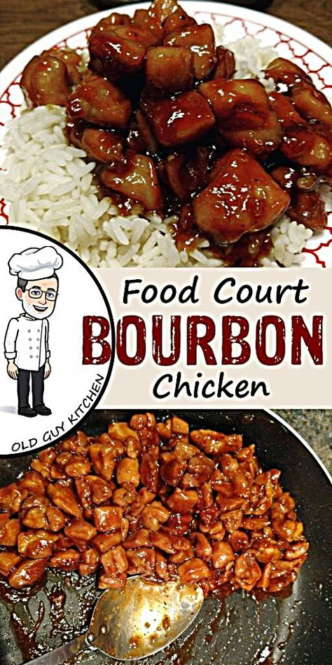 Food Court Bourbon Chicken Copycat Recipe- A copycat recipe for the bourbon . Food Court Bourbon Chicken Copycat Recipe- A copycat recipe for the bourbon chicken served at m Healthy Recipes, Asian Recipes, New Recipes, Cooking Recipes, Favorite Recipes, Bourbon Recipes, Cooking Tips, Kitchen Recipes, Healthy Food
