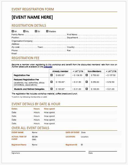 Registration Form Template Microsoft Word Inspirational Event Registration Forms Template For Ms Word Registration Form Event Registration Registration