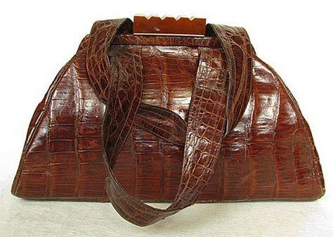 Vintage 1940s HOLZER Handbag Genuine ALLIGATOR & Bakelite
