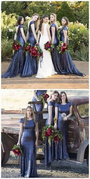 Charming Popular Cap Sleeve Round Neck Royal Blue Sequin Mermaid Long Bridesmaid Dresses, The long bridesmaid dresses are fully lined, 4 bones in the bodice, chest pad in the bust, lace up back o