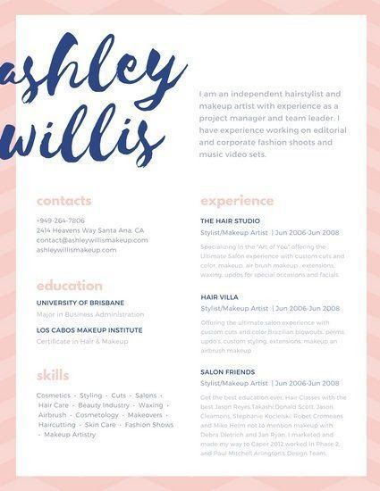 Pink Blue Script Creative Makeup Artist Resume Resumes And 9 10