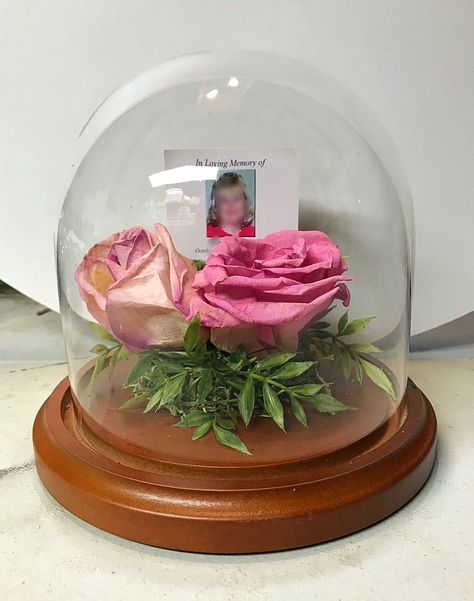 Preserved funeral flower glass dome 4 x 7