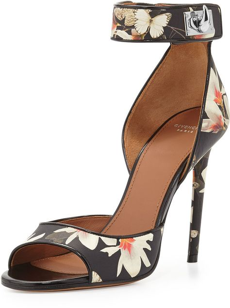 Givenchy Floral Print Leather Ankle Wrap Sandal on shopstyle