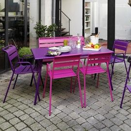 Salon Monceau : table 146x80 cm aubergine + 2 chaises fuschia + 2 ...