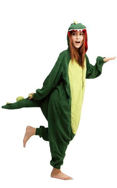 Women Men Adult Pajamas Green Dinosaur Onesie0 Kigurumi Animal Cosplay Costumes