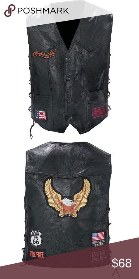 Diamond Plate™ Rock Design Genuine Buffalo Leather Motorcycle Vest