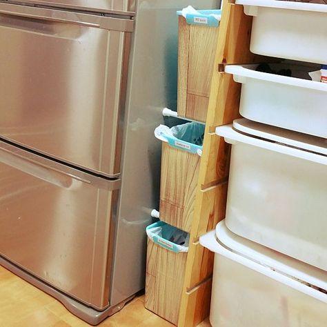キッチン ダイソー リメイクシート木目調 つっぱり棒 分別ゴミ箱